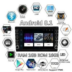 1+16G 1 Din Adjustable 8in Android 8.1 Quad-core Car Stereo Radio WiFi GPS Navi
