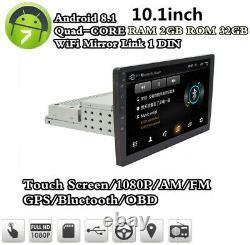 1 DIN 10.1Inch Adjustable Android 8.1 RAM 2GB ROM 32GB Car Stereo Radio GPS WiFi