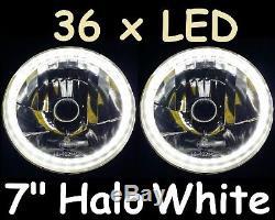 1pr WHITE 7 Halo Lights & 70w HID Kit Ford Escort Cortina Mk1 Mk2 Lights