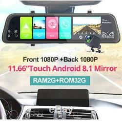 2-Lens 12'' Android GPS Car DVR Dash Camera 4G WiFi ADAS Rearview Mirror 2G+32G