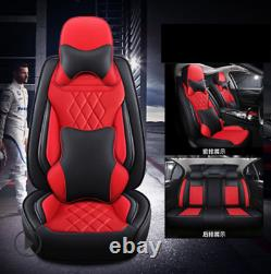 5D Deluxe Edition Car Seat Cover 5-seats Cushion Black/Red Microfiber Leather