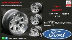 Cerchi Minilite 7j 13 pollici Ford Escort Capri Cortina Taunus TC wheels felgen