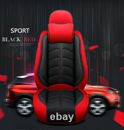 Deluxe Edition Full Seat PU Leather Car Seat Covers Cushions Black/Red +Headrest