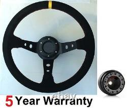 Drift Suede 350mm Steering Wheel Fit Ford Capri Mk1 Mk2 Escort Black Competion