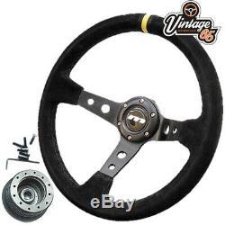 Ford Capri Mk1 Mk2 340mm Rally Style Alcantara Steering Wheel & Boss Fitting Kit