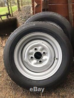 Ford Escort Cortina Lotus Twincam wheels & tyres 5.5 X 13 Mk1/2. GOOD CONDITION