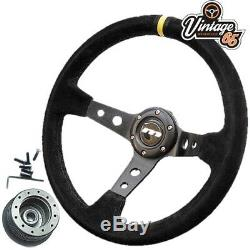 Ford Escort Mk2 340mm Rally Style Alcantara Steering Wheel & Boss Fitting Kit