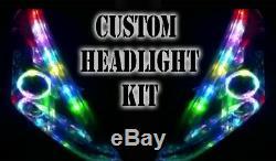 LED RGB Head Light Halo Angel Eye DRL Retrofit Bluetooth Universal custom