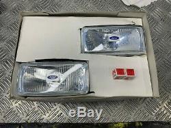 Nos Genuine Ford Escort Rs1600i Cortina Capr Pair Of Chrome Square Fog Lights