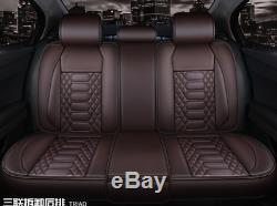 Premium PU Leather Car Seat Covers Cushion Full Set Seat Cover Coffee For 5-Sits
