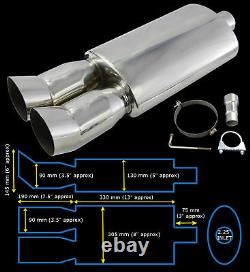 UNIVERSAL PERFORMANCE STAINLESS STEEL EXHAUST BACKBOX YFX-0639-Ford 1