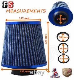 Universal Performance Blue Air Filter Induction Kit Intake Un1102b Frd1