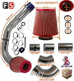 Universal Performance Cold Air Feed Pipe Air Filter Kit Red 2103rf-frd1