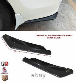 Universal Rear Bumper Lip Extension Rocker Splitter Gloss Black-frd1