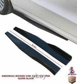 Universal Side Skirt Extension Blades Rocker Splitter 74cm Gloss Black-frd1