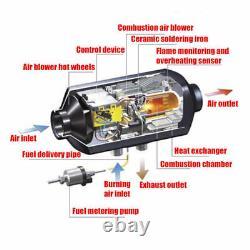 12v 5kw Air Diesel Chauffage LCD Commutateur + Silencer Constante Temp Pour Remorques De Camions Rv