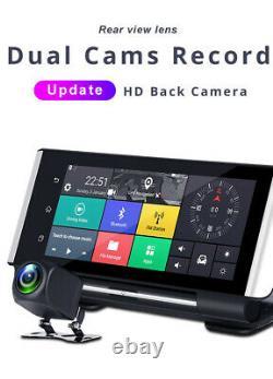 7 Pouces Hd Android 5.1 Voiture Dash Cam 4g Wifi Bt Dual Lens Dvr Caméra Gps Nav Adas