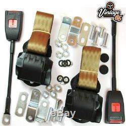 Classique Ford Avant Paire Entièrement Automatique Ceinture Inertie Beige Seat Kits E Approuvé