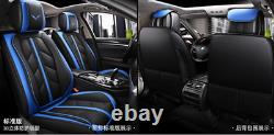 Coussin De Couverture De Siège D'auto Surround Noir+bleu De Luxe 5d Pour Voiture De 5 Places