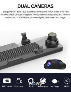 Écran Tactile 12 Double Lentille De Voiture Dvr Vue Arrière De La Caméra Caméra Enregistreur Dash Cam 4g