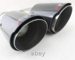 H Shape 2 Pcs Glossy Real Carbon Fiber 63-89mm Voiture Dual Tip Exhaust Muffler Pipe