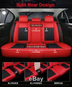Noir / Rouge De Luxe En Cuir De Voiture 5-sièges Housse De Coussin Pads Pour Intérieur Accessoires