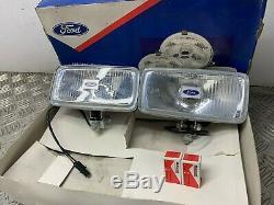 Nos Véritable Ford Escort Rs1600i Cortina Capr Paire De Chrome Carrés Phares Anti-brouillard