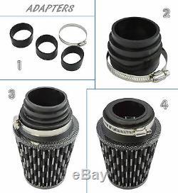 Universal Kit Induction Avec Filtre Adaptateurs De Carbone / Noir Ford 1